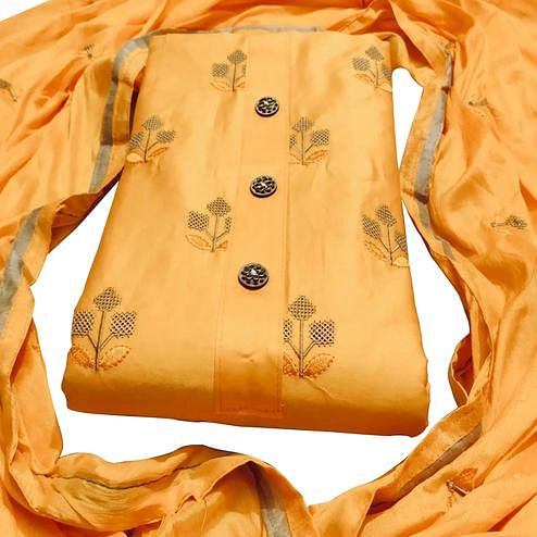 Trendy Yellow Colored Party Wear Embroidered Cotton Dress Material