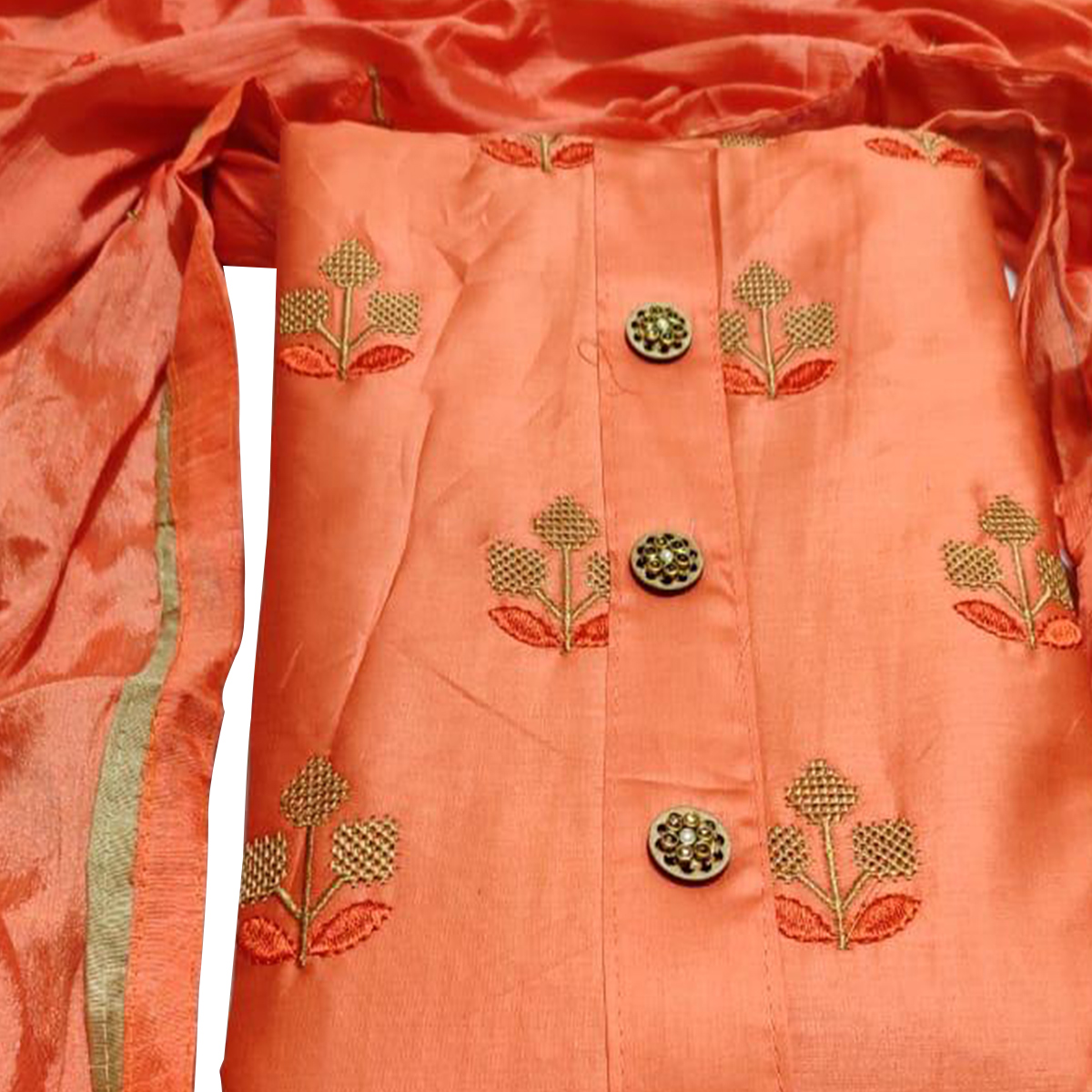 Radiant Orange Colored Party Wear Embroidered Cotton Dress Material