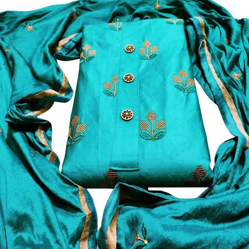 Pleasant Blue Colored Party Wear Embroidered Cotton Dress Material