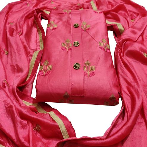Opulent Pink Colored Party Wear Embroidered Cotton Dress Material