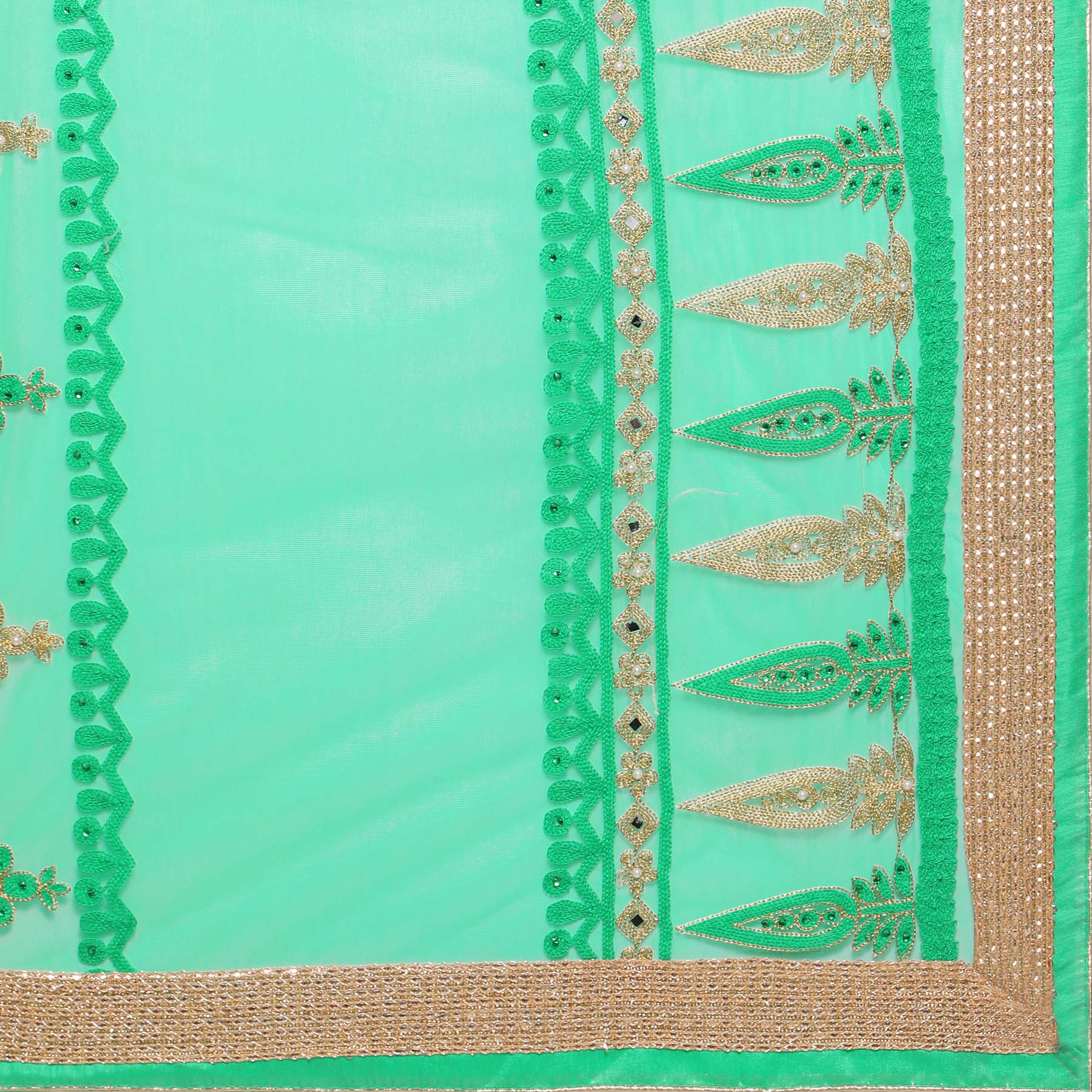 Gorgeous Green Embroidered Saree