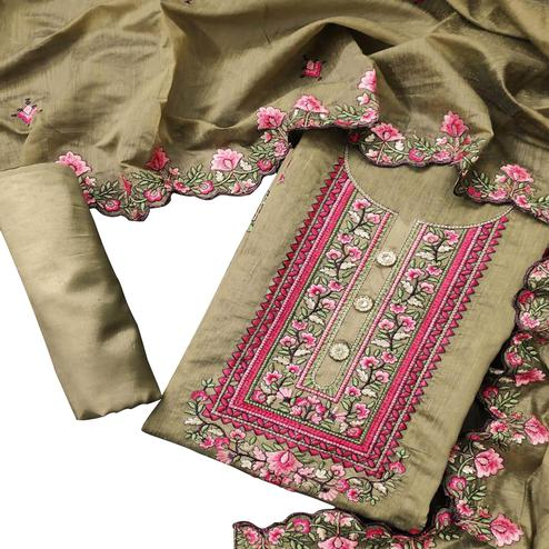 Blooming Beige Colored Party Wear Floral Embroidered Semi Modal Dress Material