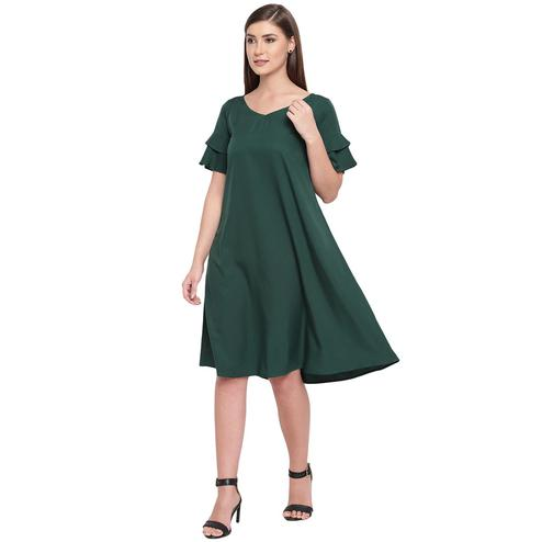 Fabnest - Green Colored Casual Wear Crepe Dress