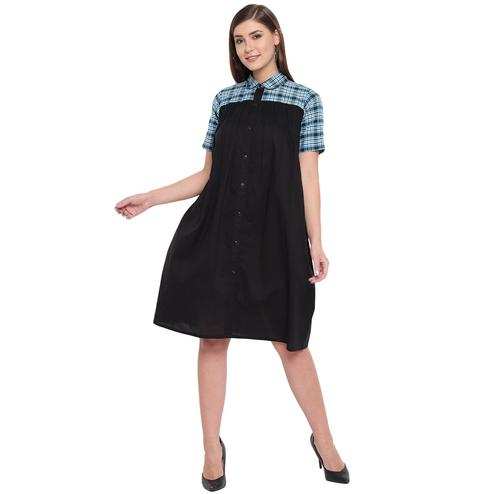 Fabnest - Black Colored Casual Wear Cotton Dress
