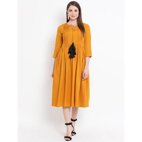 Fabnest - Yellow Colored Casual Wear Crepe Dress