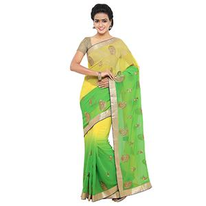 Radiant Yellow And Green Georgette Embroidered Saree