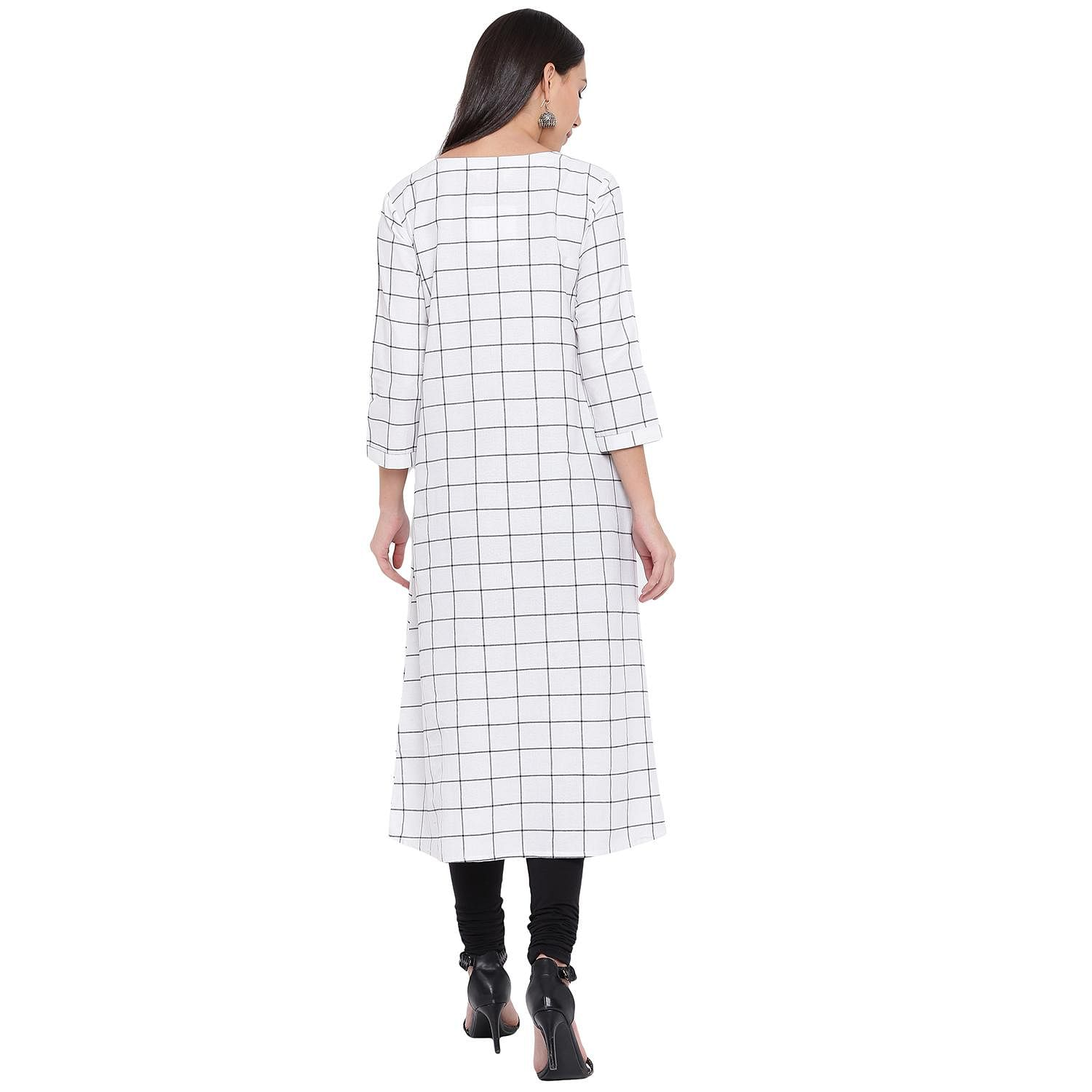 Fabnest - White Colored Casual Wear Checked Printed Cotton Kurti