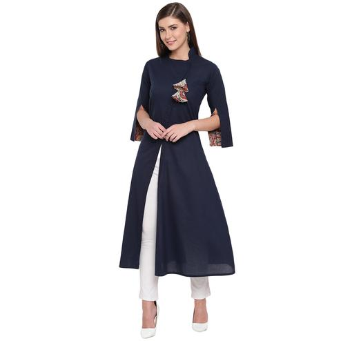 Fabnest - Navy Blue Colored Casual Wear Cotton Kurti