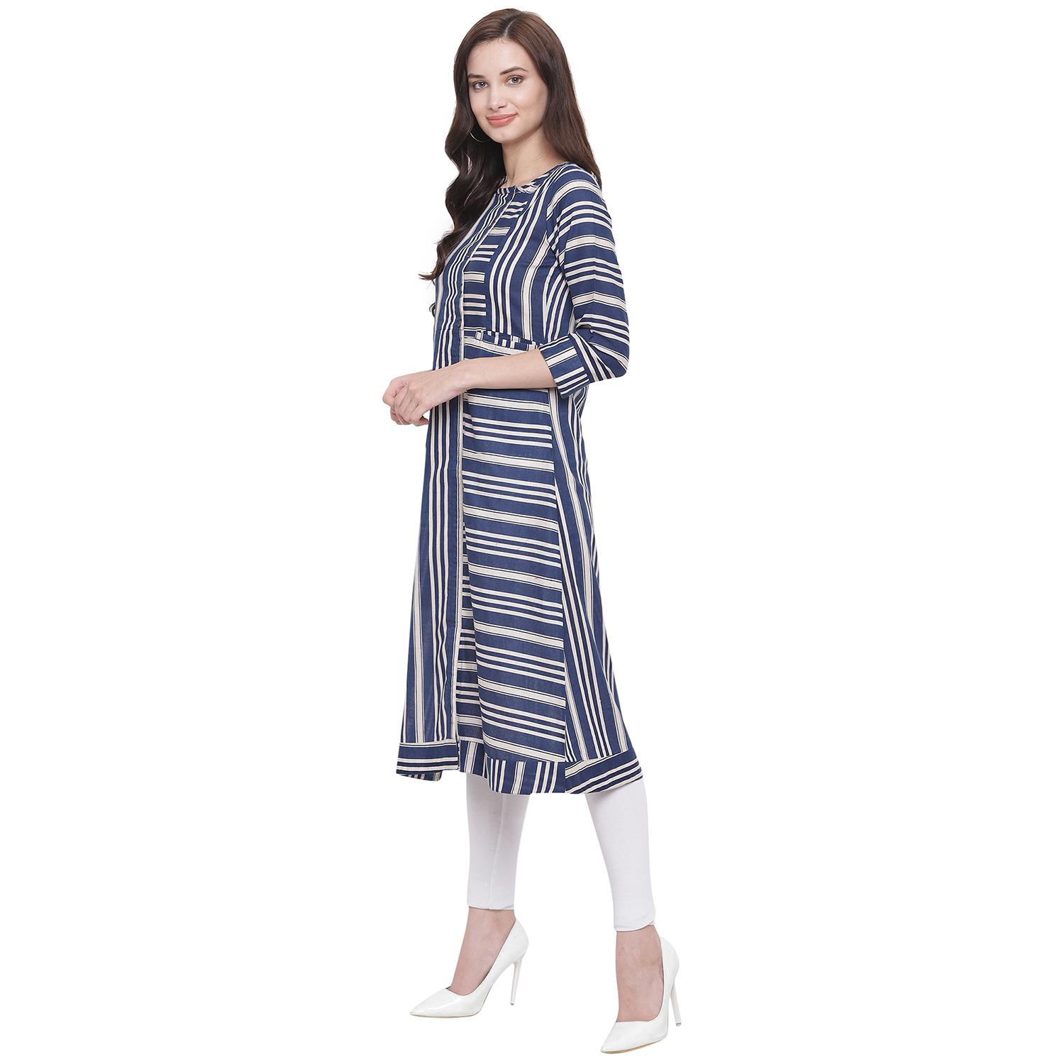 Fabnest - Blue Colored Casual Wear Stripes Printed Cotton Kurti