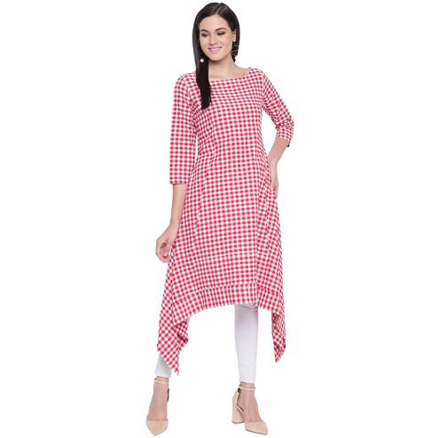Fabnest - Red Colored Casual Wear Checked Printed Cotton Kurti