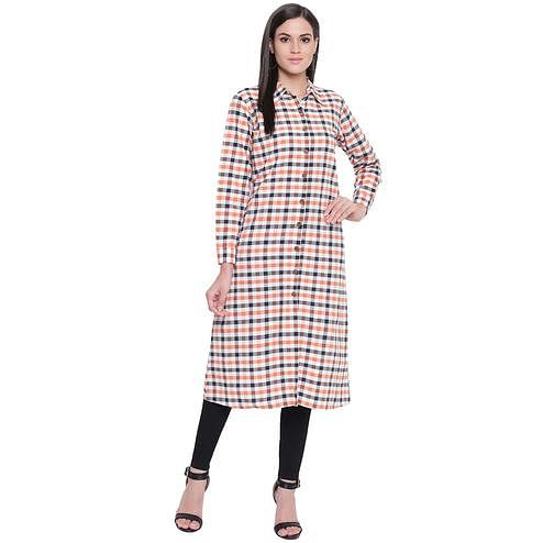 Fabnest - White-Orange Colored Casual Wear Checked Printed Cotton Kurti