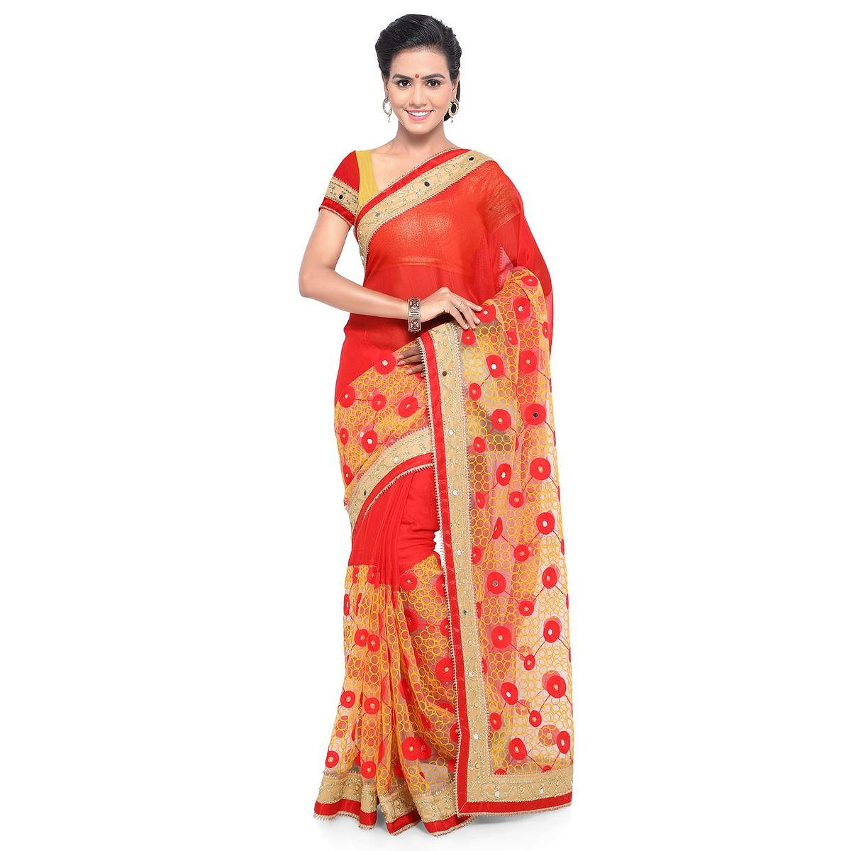 4a2d22f9a601ed Buy Hot Red - Beige Chiffon And Net Embroidered Saree online India, Best  Prices, Reviews - Peachmode