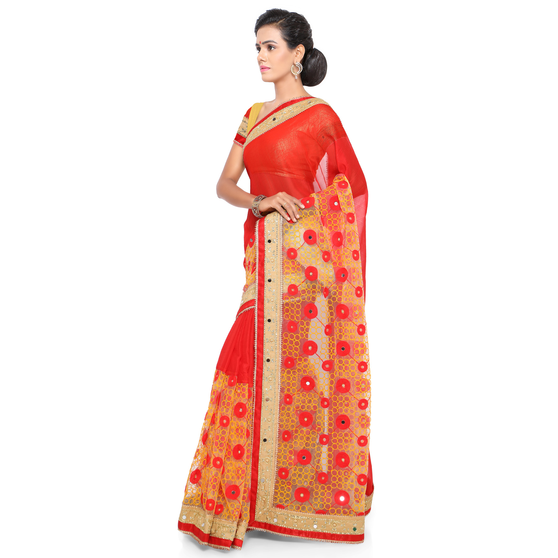 Hot Red - Beige Chiffon And Net Embroidered Saree