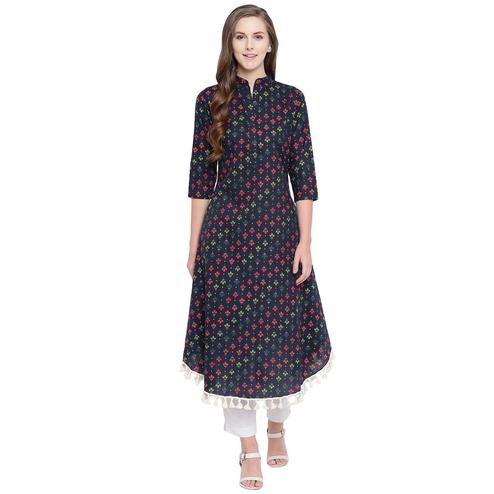 Fabnest - Indigo Blue Colored Casual Wear Floral Printed Cotton Kurti