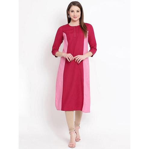 Fabnest - Red Colored Casual Wear Cotton Kurti