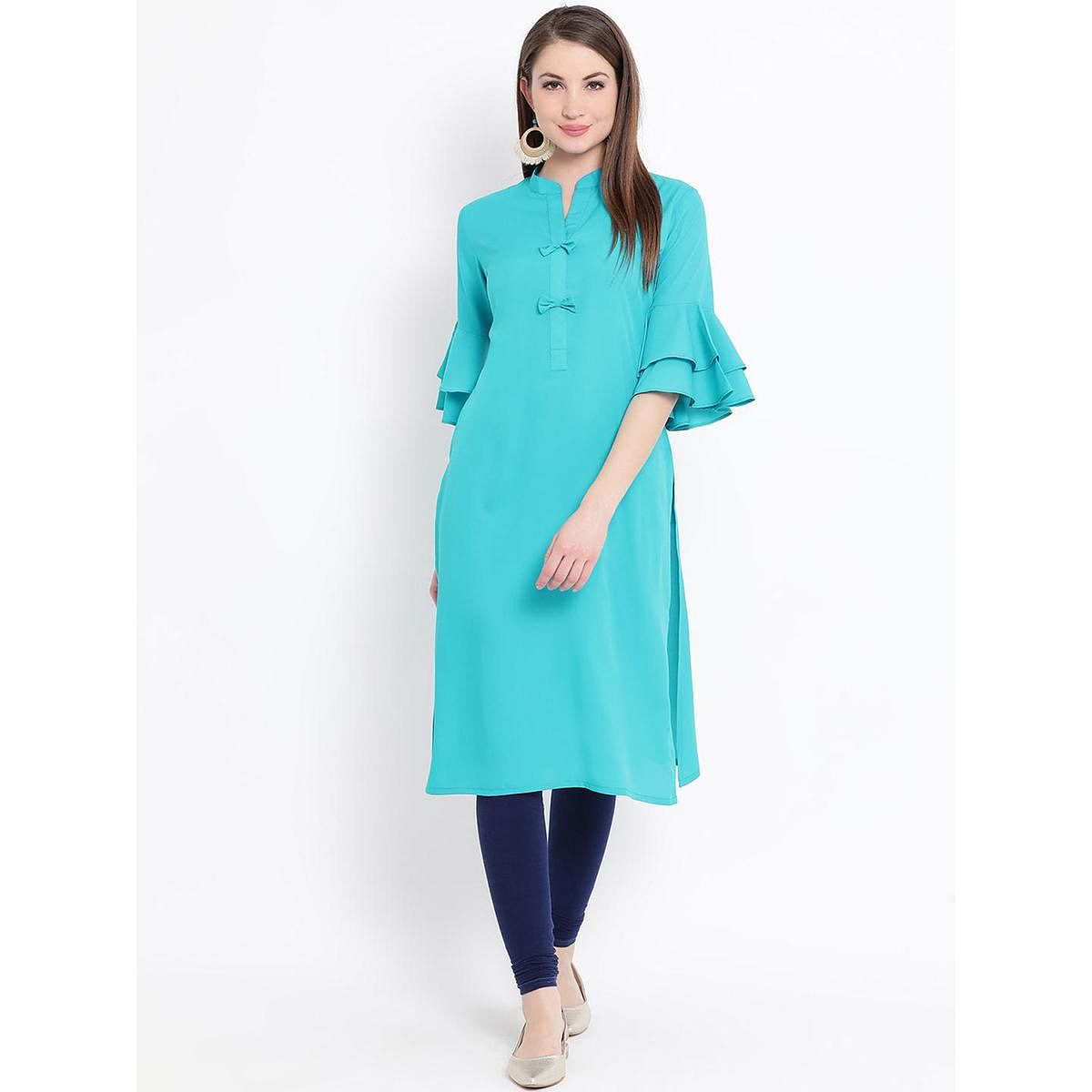 Fabnest - Turquoise Blue Colored Casual Wear Crepe Kurti