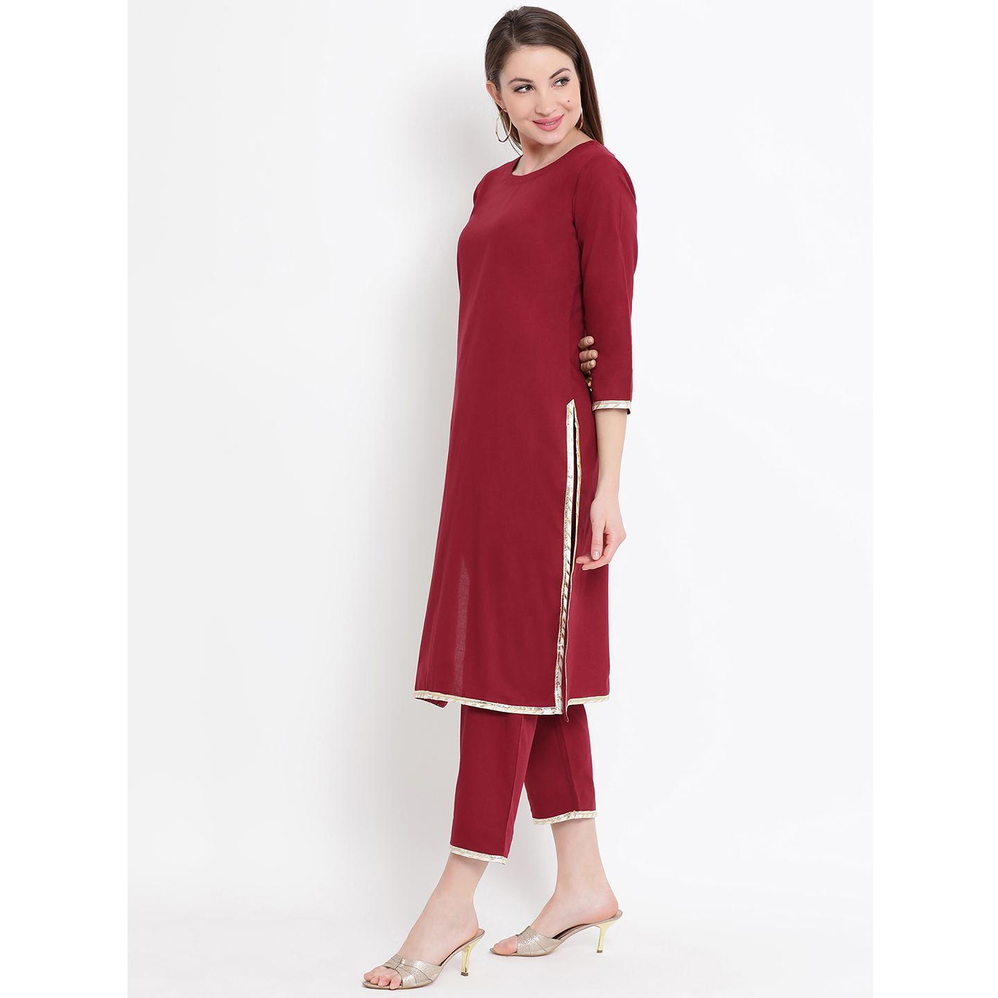 Fabnest - Maroon Colored Casual Wear Cotton Kurti
