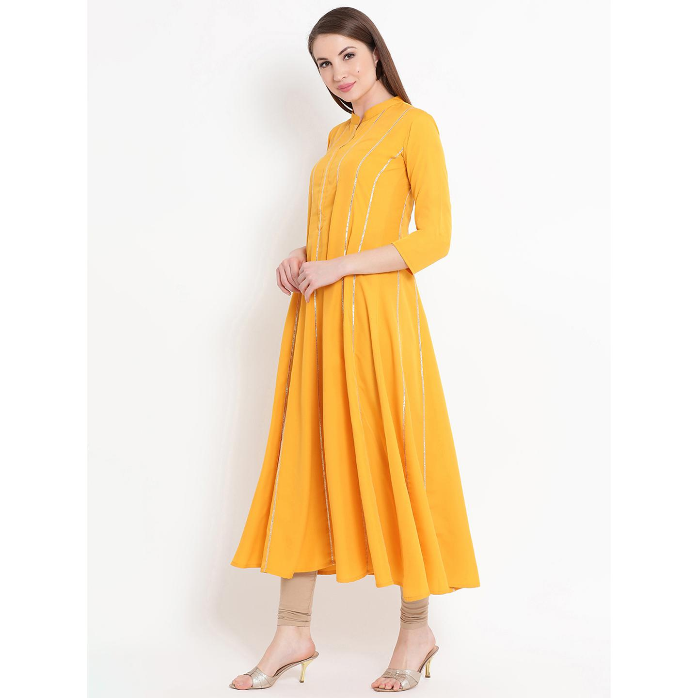 Fabnest - Yellow Colored Casual Wear Crepe Kurti