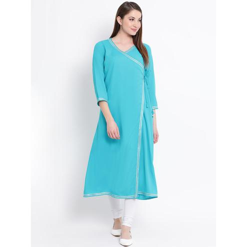 Fabnest - Aqua Blue Colored Casual Wear Crepe Kurti