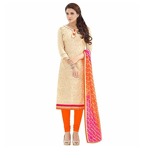 Cream - Orange Embroidered Work Chanderi Suit