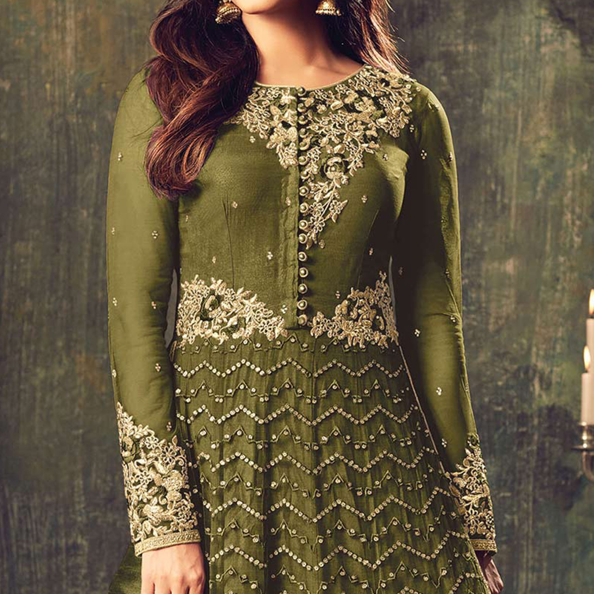 Stylish Green Net Designer Partywear Embroidered Anarkali Suit