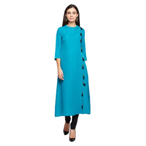 Fabnest - Blue Colored Casual Wear Crepe Kurti Wth Tassels