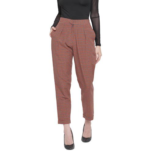 Fabnest - Brown Colored Casual Wear Checked Printed Cotton Pant