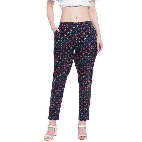 Fabnest - Dark Blue Colored Casual Wear Floral Printed Cotton Pant