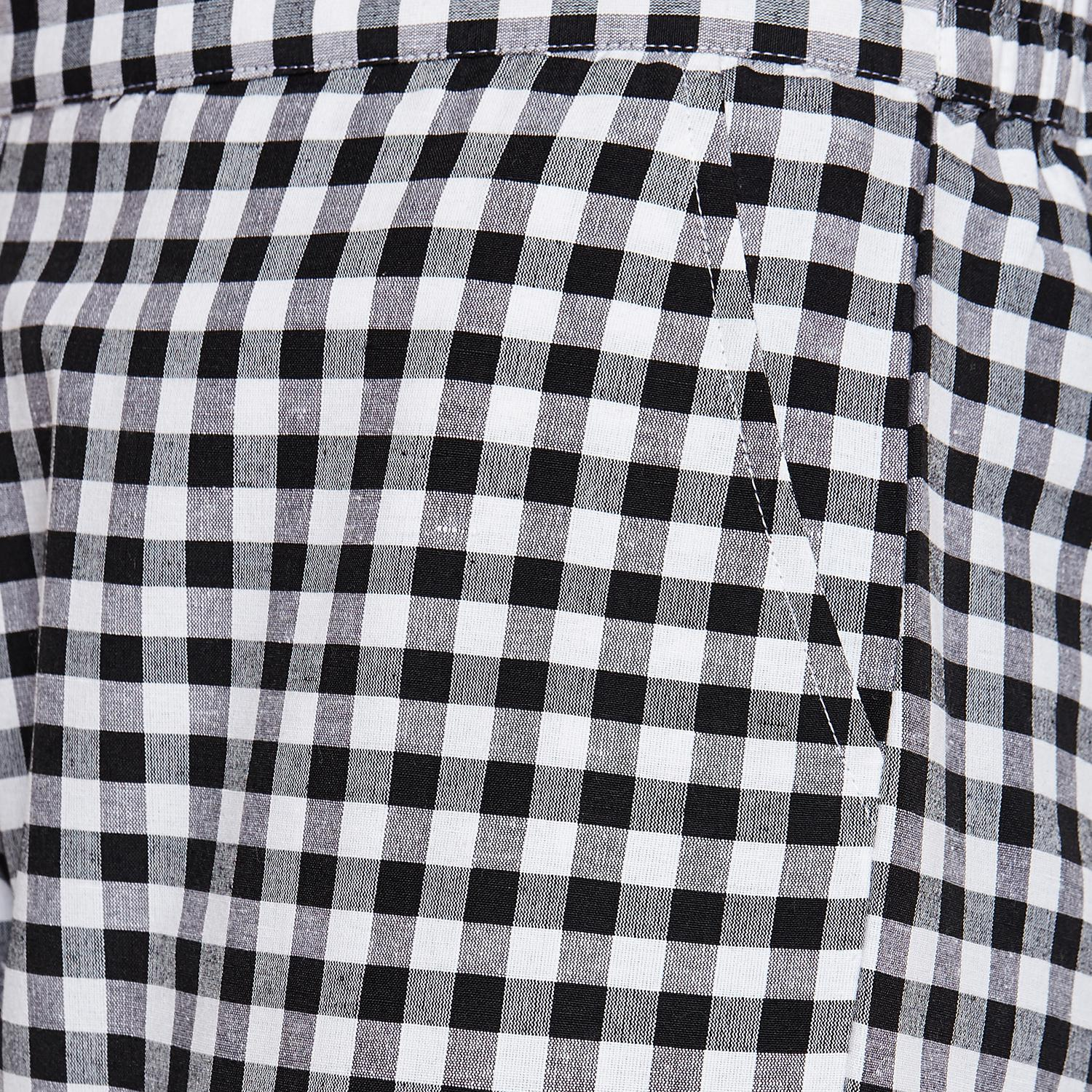 Fabnest - White-Black Colored Casual Wear Checked Printed Cotton Pant