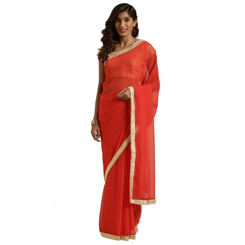 Adorable Red Colored Casual Wear Georgette Saree