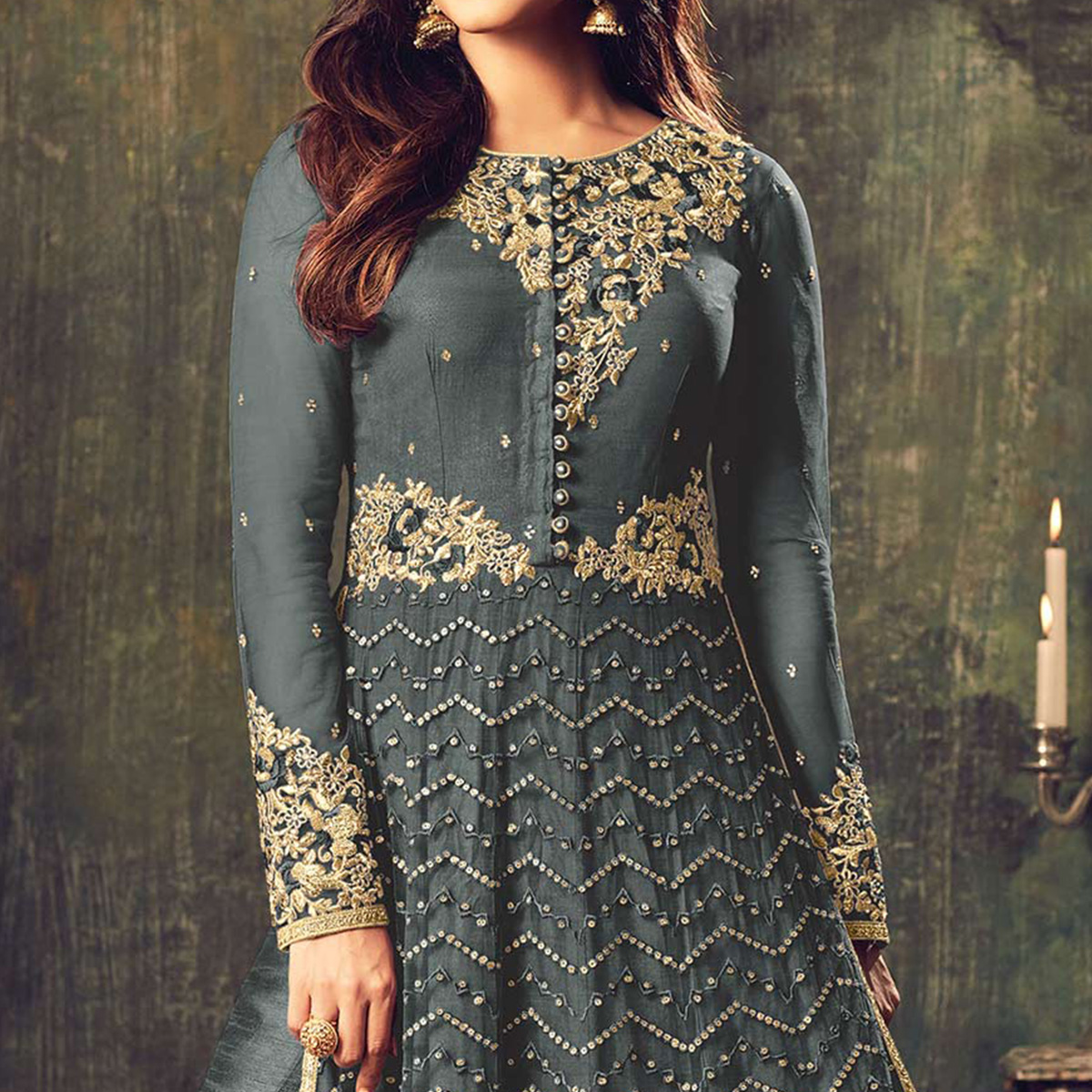 Stylish Grey Net Designer Partywear Embroidered Anarkali Suit