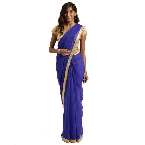 Glorious Blue Colored Casual Wear Georgette Saree