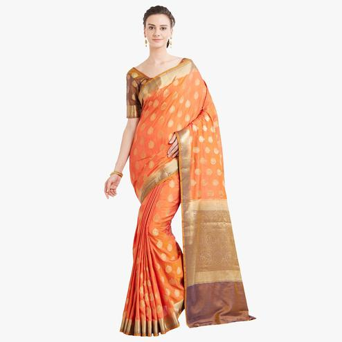 Graceful Orange Colored Festive Wear Woven Banarasi Silk Saree