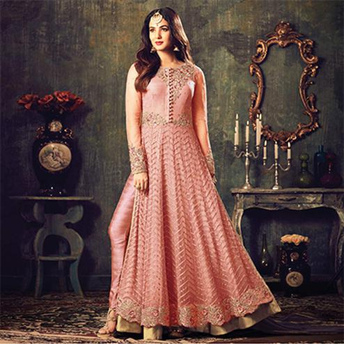 Stylish Peach Net Designer Partywear Embroidered Anarkali Suit