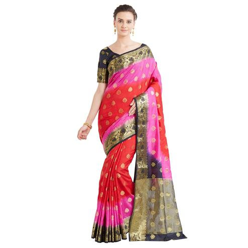 Innovative Red-Pink Colored Festive Wear Woven Banarasi Silk Saree