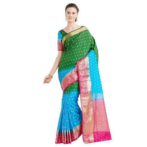 Eye-catching Green-Blue Colored Festive Wear Woven Banarasi Silk Saree