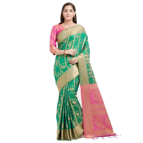 Amazing Green Colored Festive Wear Woven Patola Silk Saree