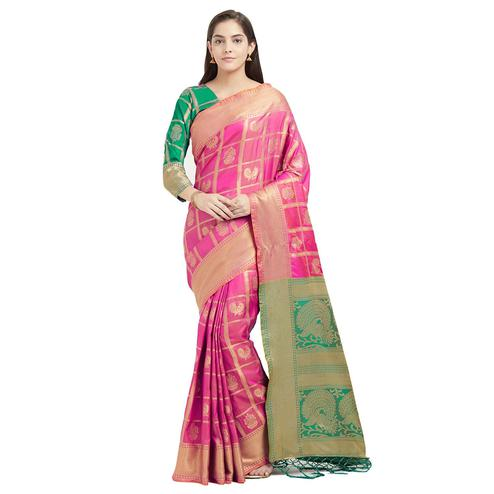 Gorgeous Pink-Green Colored Festive Wear Woven Patola Silk Saree