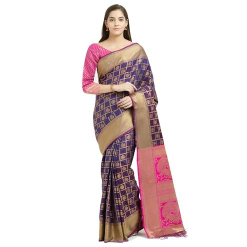 Blissful Dark Purple Colored Festive Wear Woven Patola Silk Saree