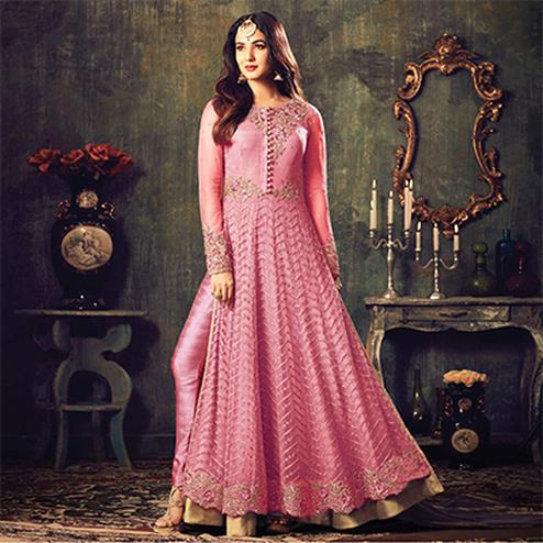 Stylish Pink Net Designer Partywear Embroidered Anarkali Suit