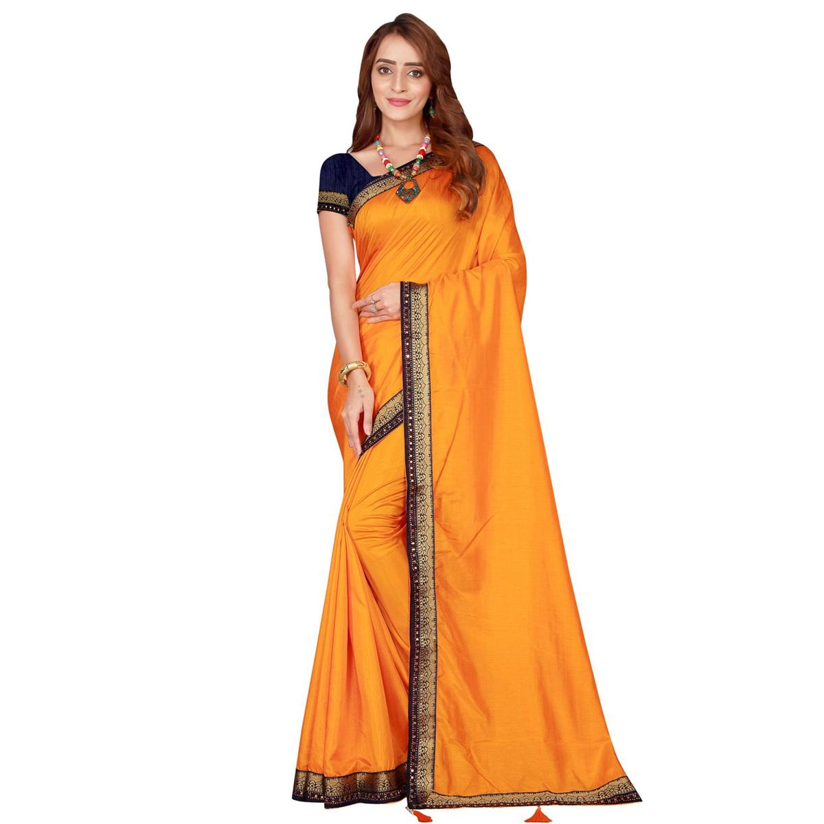 Breathtaking Mustard Yellow Colored Festive Wear Woven Poly Silk Saree