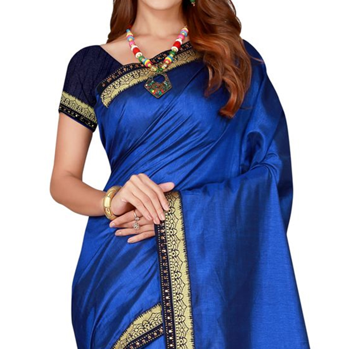 Ethnic Navy Blue Colored Festive Wear Woven Poly Silk Saree