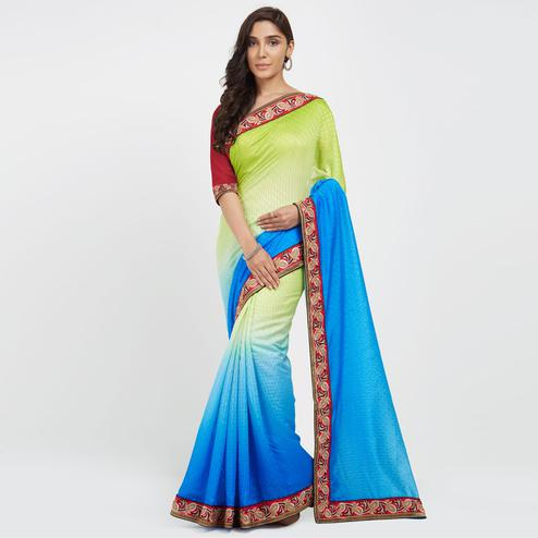 Ravishing Parrot Green-Blue Colored Casual Wear Embroidered Chiffon Saree