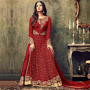 Stylish Red Net Designer Partywear Embroidered Anarkali Suit