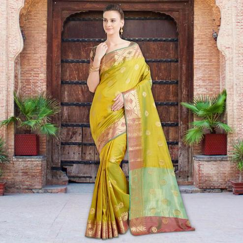 Desirable Green Colored Festive Wear Woven Banarasi Silk Saree