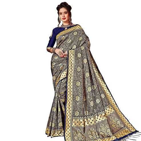 Attractive Navy Blue Colored Festive Wear Woven Kanjivaram Art Silk Saree
