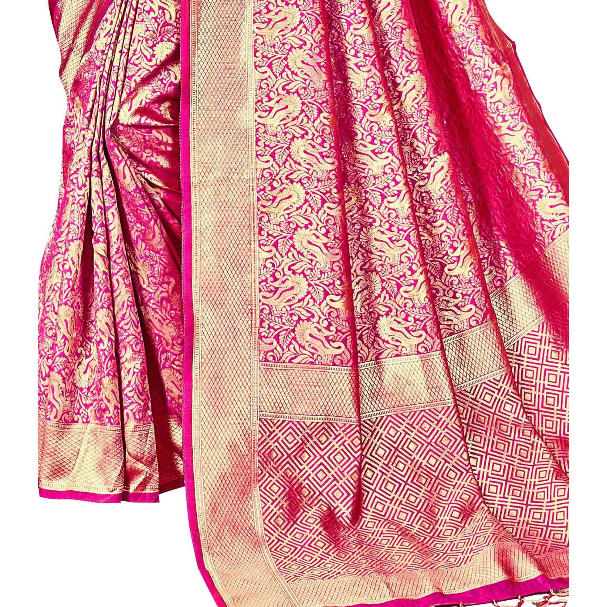 Beautiful Dark Pink Colored Festive Wear Woven Kanjivaram Art Silk Saree
