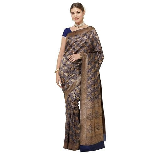 Jazzy Navy Blue Colored Festive Wear Woven Art Silk Saree