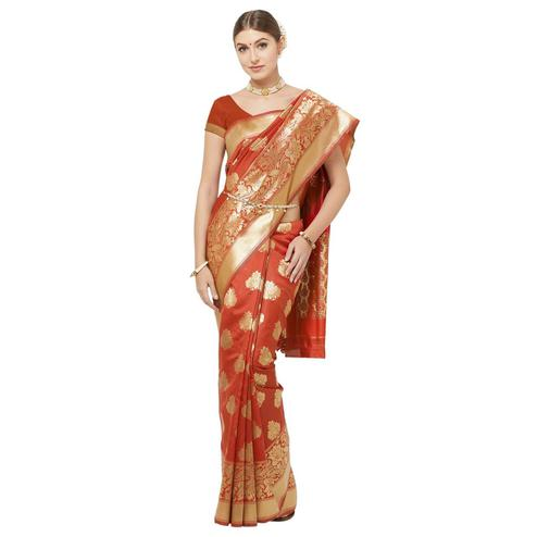Delightful Orange Colored Festive Wear Woven Art Silk Saree