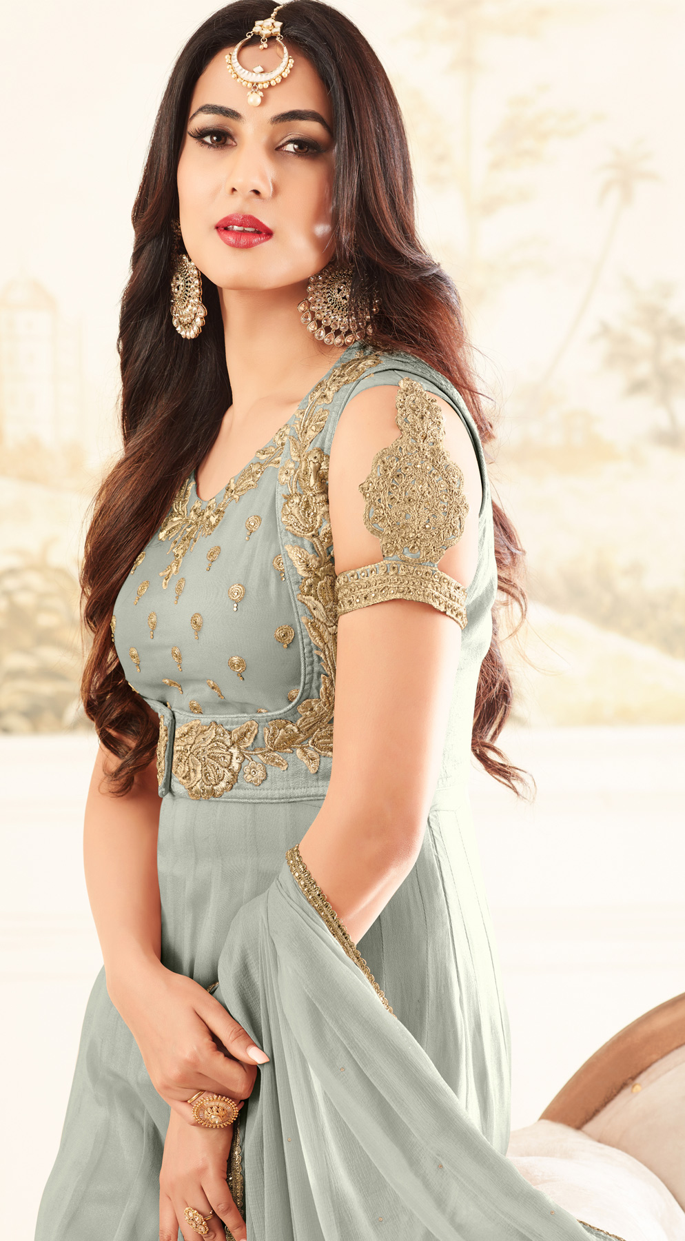 Gorgeous Grey Designer Embroidered Georgette Anarkali Suit